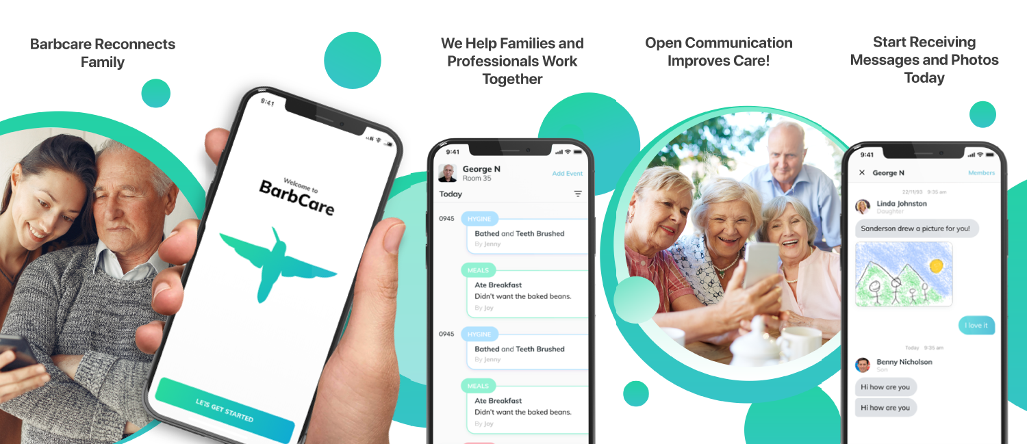 aged care, resident communication, BarbCare, aged care app, family communication